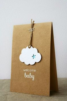 DIY Packaging: Such sweetness! This fluffy cloud simply hung on a cord with staples speaks volumes to welcome your little one! White embossing powder adds a bit of sparkle to this handmade baby card. Handgemachtes Baby, New Baby Cards, New Baby Gifts, Gift Packaging, Packaging Ideas, Simple Packaging, Jewelry Packaging, Creative Gifts, Diy Cards