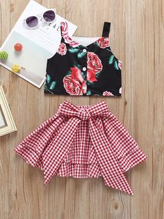 Fashion Toddler Little Girl Flower Crop Top Matching White and Red Plaid Big Bow Skirt Baby Outfits, Little Girl Outfits, Little Girl Fashion, Toddler Fashion, Kids Outfits, Kids Fashion, Little Girl Skirts, Fashion Top, Toddler Outfits