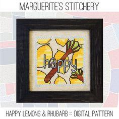 Happy Lemons & Rhubarb - Cross Stitch Chart using Valdani Perle Cotton