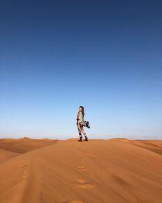 "JULIA ANGELINA on Instagram: ""Chasing the sun ☀️ #desert . . . #nofilter #nofilterneeded #blueskyredsand #bluesky #dubaitraveler #dubaitravel #exploredubai #dubaitravel…"" Chasing The Sun, Dubai Travel, Monument Valley, Country Roads, Explore, Instagram, Exploring"