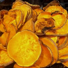 Sweet potato chips. No oil necessary. Add cinnamon, pepper, cayenne...whatever you like and bake at 425 degrees for 45 min or until desired crispyness is attained.