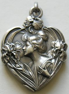 French Lady and Iris 800 Silver Locket art nouveau