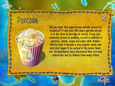 Popcorn was initially served for breakfast. Did you know it? More surprising facts are waiting for you on Tour de Maps! :)