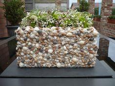 Zomer bloemstukje met schelpen
