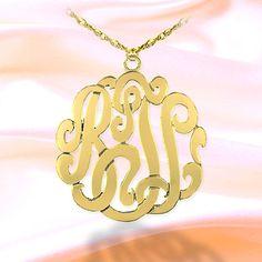 Monogram Necklace 24K Gold Plated-  SilverJewelryArcade