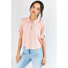 Cooperative Tie-Sleeve Caitie Blouse (42 AUD) ❤ liked on Polyvore featuring tops, blouses, blush, loose fitting tops, loose fit tops, short sleeve blouse, pink top and sleeve blouse