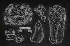 egetables drawn in chalk on a blackboard set corn, peas, potatoes, cabbage, eggplant, radishes, mushrooms, carrot, tomato, chili peppers, cucumber, onion, napa cabbage, olives, pepper, pumpkin, garlic, broccoli.