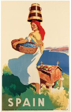 Spanish travel poster published by the Spanish State Tourist Department in Madrid, c. 1940s. Painted by artist Asturias Morell.