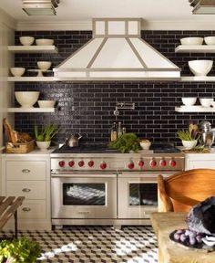 black subway tile with grey grout for kitchen, with grey cabinets!