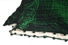 Velvet And Cotton Quilt Emerald Green Ivory Blanket Pick