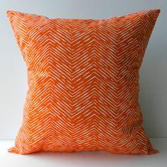 New 18x18 inch Designer Handmade Pillow Case orange chevron pattern.