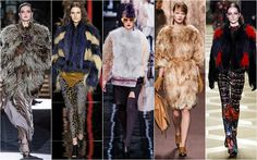 Colourful Fur. Fur was definitely in the air as designers embraced full on pelts with a vengeance to create wholly new hybrids in colour. - DSquared, Just Cavalli, Fendi, Marni and Roberto Cavalli