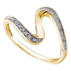 14kt Yellow Gold Women's Round Diamond S Curve Band Ring 1/20 Cttw - FREE Shipping (US/CAN)