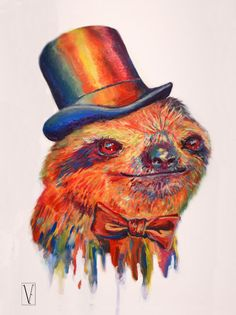 "Victoria Egan ""dapper Sloth"" Acrylic On Canvas. Griffon Tattoo, Art Journal Inspiration, Art Inspo, Acrylic Pouring Art, Baby Sloth, Street Artists, Animal Paintings, Dapper, Moose Art"