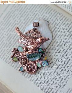 St Valentine Sale OOAK electroformed pendant copper pendant jewelry with birds unique large pendant electroform jewelry birds necklace (111.80 USD) by ChechelArt