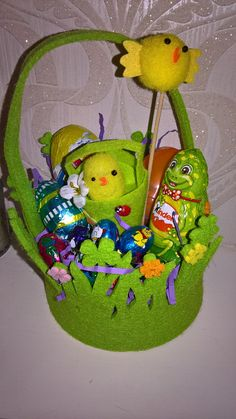 easter basket packed with easter treats and surprise toy! with miniature easter chick basket! ideal easter gift! by PetitechicboutiqueGB on Etsy