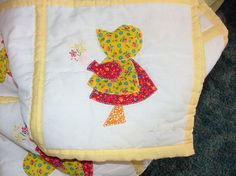 Quilt  Sunbonnet girl with flowers Red and by kimberlycockrum, $380.00  ... I would not make the foot a triangle... it does match the curved lines of the rest... but cute pattern