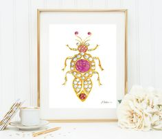 Bug Brooch Watercolor Rendering in Yellow Gold with Diamonds, Pink Sapphires, Rubies, and Hessonite Garnet printed on Paper