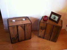 Reclaimed wood slatted bedside tables #decor #handmade