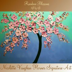 ABSTRACT Impasto Blossom Tree painting,shades of blues,Aquas on gallery wrap canvas-Nicolette Vaughan Horner,free shipping