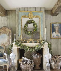 A very French Christmas *Love the filled basket idea for our fireplace. If you can't use it, at least make it pretty! Christmas Fireplace, Christmas Mantels, Noel Christmas, White Christmas, Christmas Decorations, Holiday Decorating, Fireplace Mantels, Fireplaces, Decorating Ideas