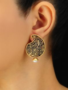 Paisley Silver Earrings - Buy Jewelry > Paisley Silver Earrings Online at Jaypore.com