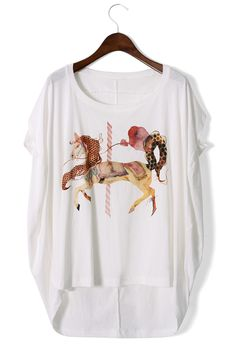 #Chicwish Unicorn Print Oversize T-shirt - New Arrivals - Retro, Indie and Unique Fashion
