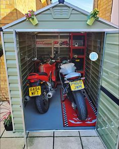 """Palram SkyLight™ 6x10 Green in Northampton, UK: Now there is an equipment worth protecting 🏍 Nikola built a """"Bike She-Shed"""" to protect her two new beautiful beasts: """"Here is the finished shed aka Biker Babe Boulevard. It was ready just in time for my new bike delivery. Thank you so much for all your help."""" . #palramlifestyle #palramshed #sheshed #skylightshed #mybike #ducatilife #ducatigram #ducati #bikeshed #staysafe Storage Shed Organization, Storage Shed Kits, Garden Tool Storage, Plastic Storage Sheds, Plastic Sheds, Resin Sheds, Shed Shelving, Vinyl Sheds, Garden Shed Interiors"""