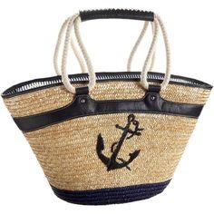 a summer tote Nautical Looks, Nautical Bags, Nautical Style, Deco Marine, Tote Handbags, Tote Bags, Straw Tote, Nautical Fashion, Summer Bags