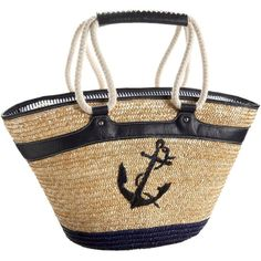 Straw Studios Zl80305C Tote (€34) ❤ liked on Polyvore featuring bags, handbags, tote bags, purses, bolsas, borse, nautical, woven tote bag, zippered tote e zip tote bag