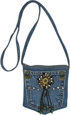 Blue Denim Small Mini Pouch Crossbody Bag with Beads, Studs and Suede Fringe Denim Bag Patterns, Blue Jean Purses, Fringe Crossbody Bag, Denim Handbags, Denim Purse, Denim Crafts, Old Jeans, Denim Jeans, Boho Bags
