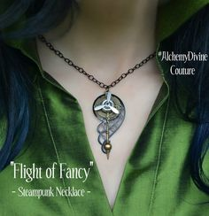Steampunk Necklace, Propeller, Compass, Clock Pendulum, Black Filigree Gear Wing  By Alchemy Divine Couture