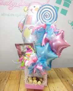 Baby Shower Gift Basket, Baby Shower Gifts, Birthday Gifts, Happy Birthday, Balloon Decorations, Balloon Ideas, Balloon Delivery, Balloon Gift, Chocolate Bouquet