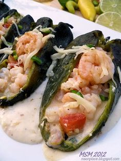 Cheese & Shrimp Stuffed Poblanos  (Chile Rellenos de Camaron y Queso)