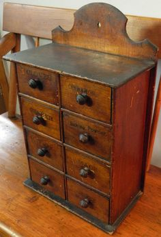 Antique Eight-Drawer Spice Box. I don't love the execution on this (top detailing is not my gig), but the idea is good.