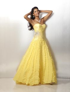 2012 Organza Formal Gown in White or Maize