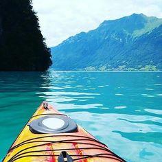 Kayaking on lake Brienz.