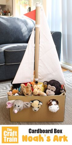 Make a Noah's Ark from a cardboard box for your stuffed animals . This is a fun DIY toy for imaginary play kids will love # kidscrafts projects for kids activities Cardboard Box Noah's Ark Stuffed Animals, Stuffed Toy, Cardboard Box Crafts, Cardboard Paper, Cardboard Box Ideas For Kids, Cardboard Play, Cardboard Animals, Animal Crafts For Kids, Diy Crafts For Kids