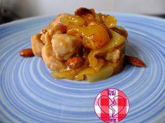 Pollo al brandy con albicocche, ananas e mandorle (la storia di Marcella)