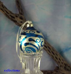 Blue Christmas Hand Painted Collector Ornament by reflections on #HandmadeArtists.com