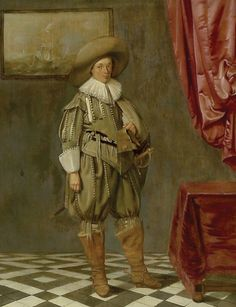 Portrait of a Young Man Standing, 1625 - Pieter Codde 17th Century Clothing, 17th Century Fashion, 19th Century, Portrait, Man Standing, Art Uk, Office Art, Old Master, Historical Costume