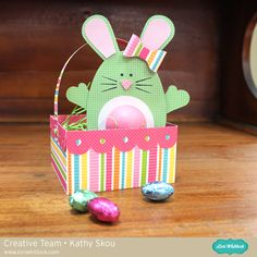 Lori Whitlock Bunny EOS Holder in Basket - Scrapbook.com - adorable basket and chapstick bunny-shaped holder!