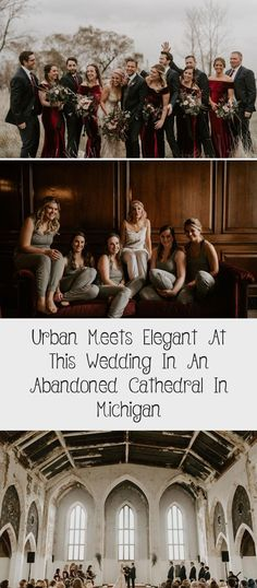 Urban Meets Elegant at this Wedding in an Abandoned Cathedral in Michigan - Green Wedding Shoes #BridesmaidDressesWinter #BridesmaidDressesSummer #SatinBridesmaidDresses #ModestBridesmaidDresses #IvoryBridesmaidDresses