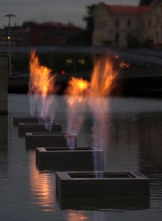 'Fire Fountain' by Yves Klien at the Guggenheim Museum Bilbao, Spain. Photo by Moritz Riemer, via Flickr