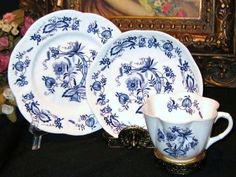 Shelley Trio  DAINTY Teacup BLUE ONION MEISSEN Meissenette Cup and Saucer Plate