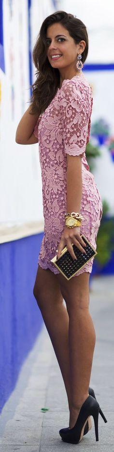 @roressclothes clothing ideas #women fashion purple lace short dress