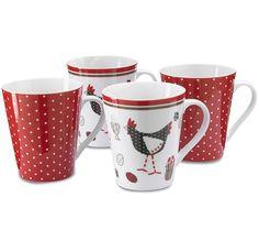 Cooksmart Chicken China Mugs (Set of China Mugs, Mugs Set, Tea Cups, Coffee Mugs, Shapes, Chicken, Tableware, Christmas, Xmas