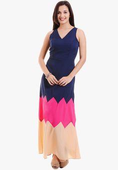 d017a715881cd Buy MSMB Navy Blue Colored Solid Maxi Dress Online - 2574912 - Jabong