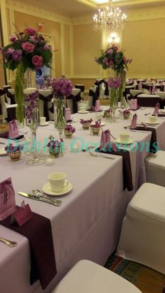 Lavender and Aubergine wedding decor by Dahlia Occasions.