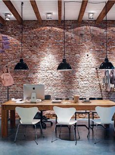 Love the red brick feature wall
